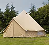 5m 100% Cotton Canvas Bell Tent With Heavy Duty Zipped In Groundsheet, Camping, Glamping, Festival, Luxury Teepee