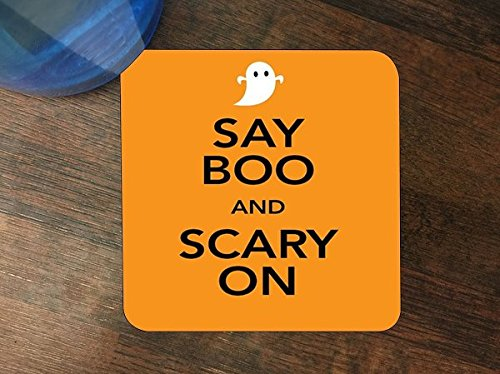 Say Boo and Scary on Halloween Fun Silicone Drink Beverage Coaster 4 Pack -