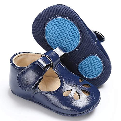 Isbasic Baby Girls Mary Janes Flat Toddler Prewalker Soft Sole Anti-Slip Princess Baptism Crib Shoes (6-12 Months, -