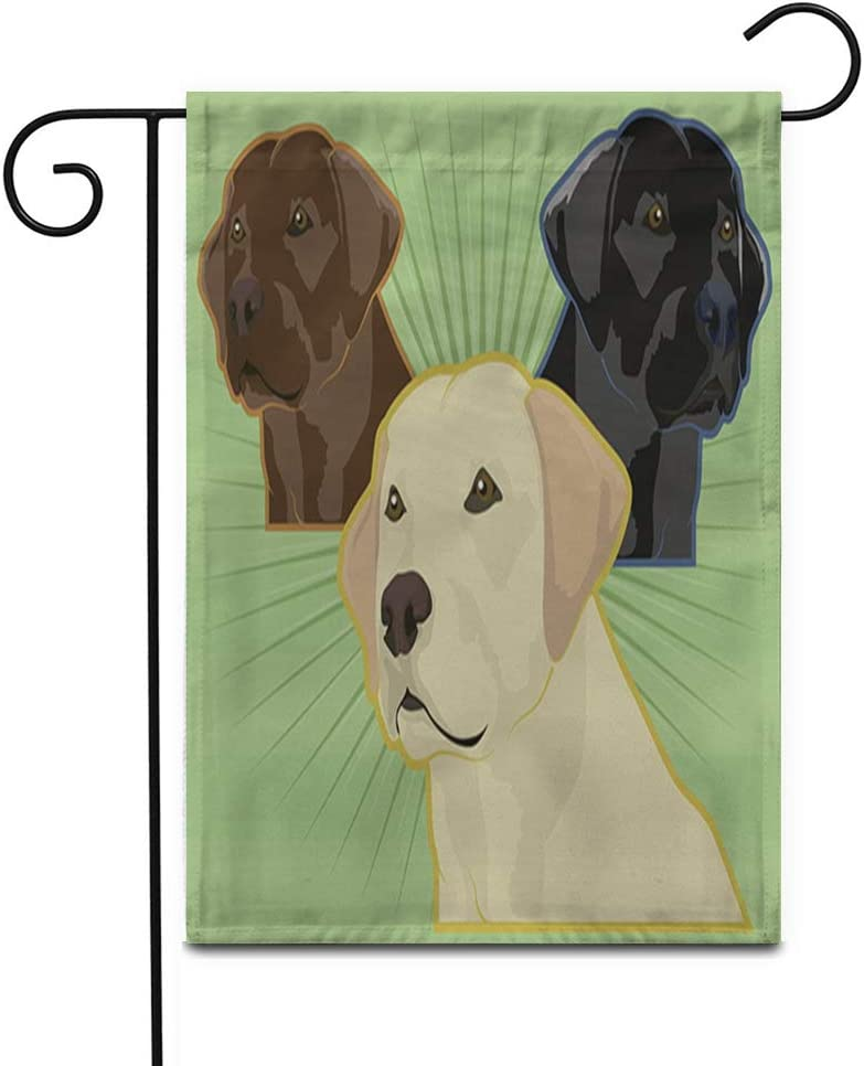 """Awowee 12""""x18"""" Garden Flag Yellow Lab Various Labrador Retriever Dogs Golden Chocolate Blind Outdoor Home Decor Double Sided Yard Flags Banner for Patio Lawn"""