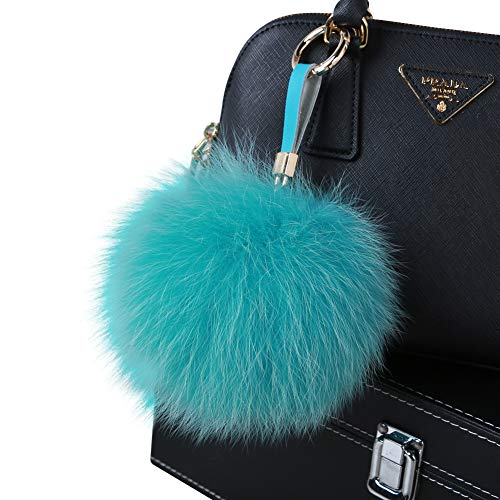 Roniky Newest Large Genuine Fox Fur Pom Pom Keychain Bag Purse Charm Gold Ring Fluffy Fur Ball (5.1