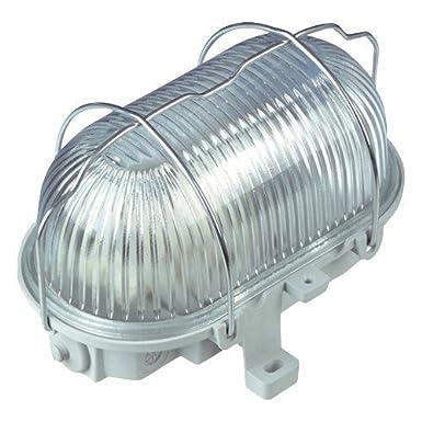REV OVALLEUCHTE – Made in Germany ǀ Ovalarmatur aus Kunststoff mit Strukturglas und Metall-Schutzkorb ǀ Feuchtraum-Leuchte IP44 ǀ 100W E27 LED-geeignet ǀ Farbe: grau 0590130555