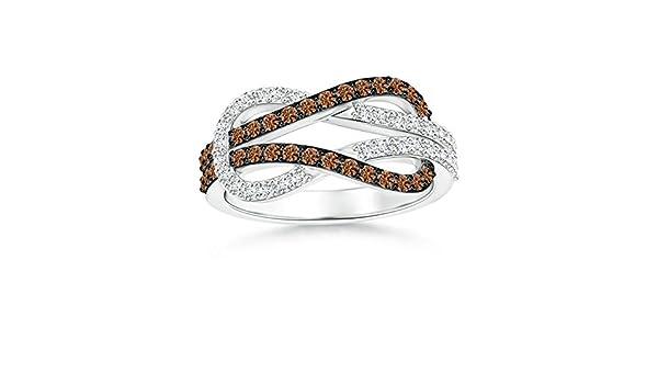 Angara Encrusted Brown and White Diamond Infinity Knot Ring