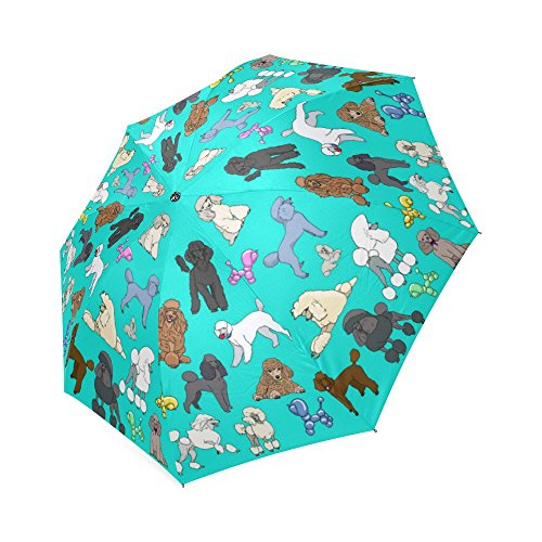 Artsadd Fashion Umbrella Poodle Umbrela Aqua Foldable Sun Rain Travel (Poodle Umbrella)
