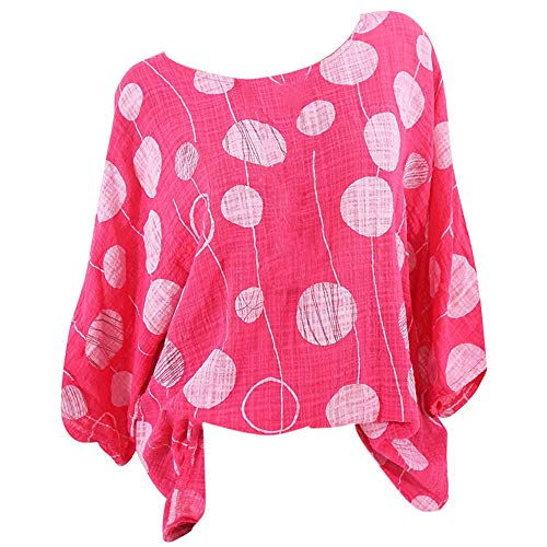 Women Shirt Plus Size 3/4 Sleeve Round Neck Sexy Polka Dot Print Blouse Pullover Tunic Top (XXXXXL, Hot Pink)