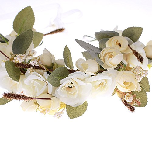 Love Sweety Rose Flower Headband Floral Crown Garland Halo (Ivory) by Love Sweety (Image #2)