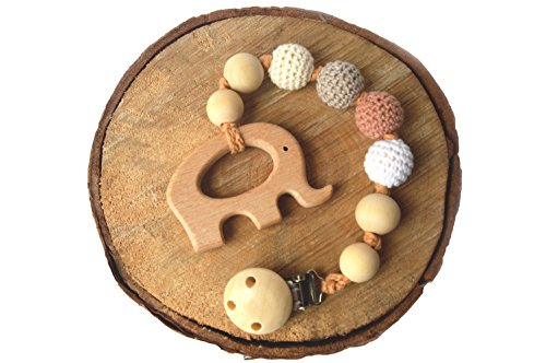 Mali Wear Natural Wooden Pendant Teething Dummy Clip (neutrals-elephant)