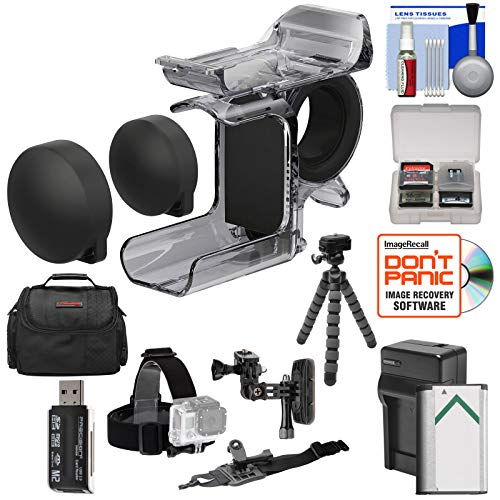 Sony AKA-FGP1 Finger Grip for HDR-AS50, HDR-AS300 & FDR-X3000 Action Cameras with 2 Helmet & Flat Surface Mounts + Battery & Charger + Case + Tripod Kit (Sony As30v Accessories)