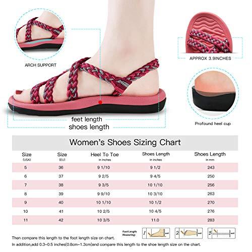 80d7b40fa7e6c QLEYO Women's Comfortable Flat Walking Sandals with Arch Support Waterproof  for Walking/Hiking/Travel/Wedding/Water Spot/Beach.18ZDKDQL01-W4-9 BD ...