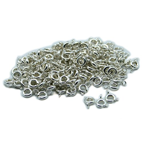So Beauty 40pcs 5mm Silver Plated Spring Ring Round Clasps for Necklace & Bracelet DIY (Silver Plated Spring)