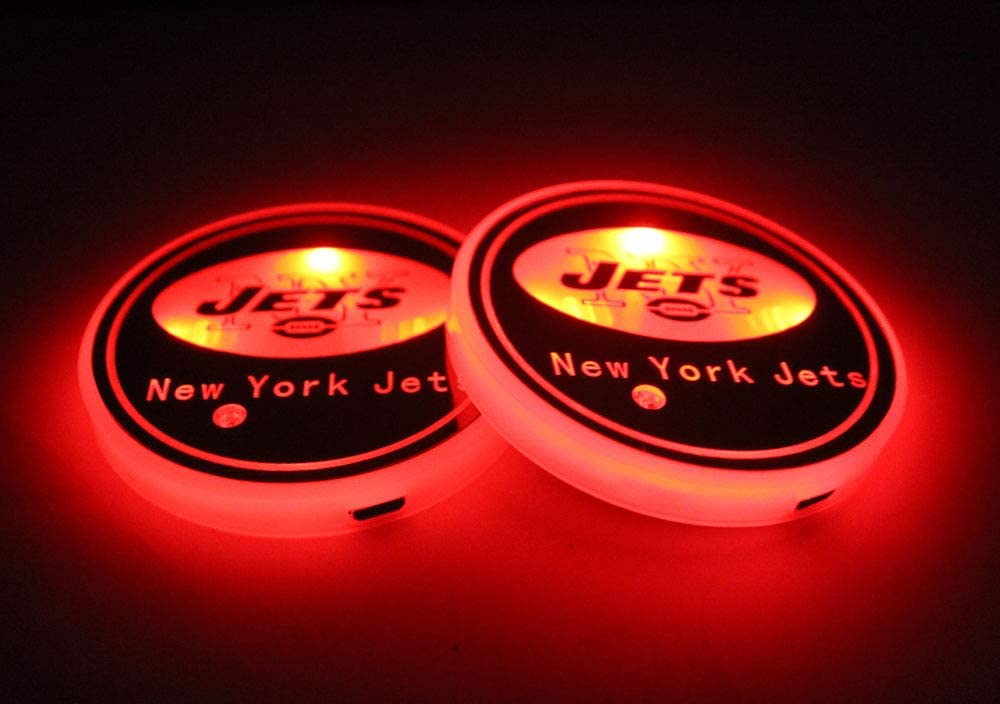 fit New York Jets CAR FANS 2pcs fit Team Logo Cup Holder Lights,USB Charging Switchable Colorful Breathing Room Atmosphere Light,Choice of Big Fan of Football