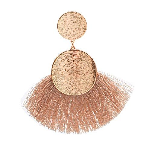 Tassels Earrings Bohemia Ethnic Dangle Eardrop Fan Fringe for Women Girls White Red Black Camel Yellow (Camel)