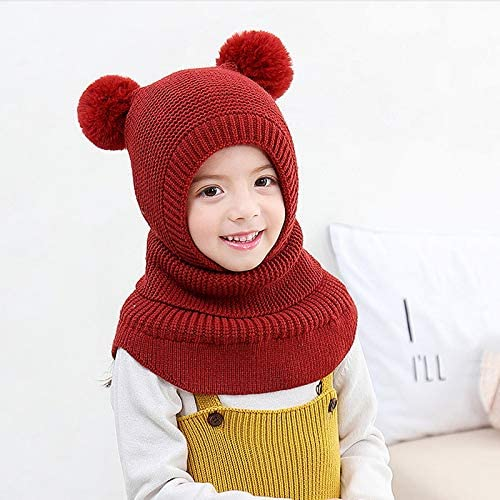 YICANG Baby Soft Knitted Hat Scarf Winter Warm Wool Cap for Boys Girls 2-6 Year Old