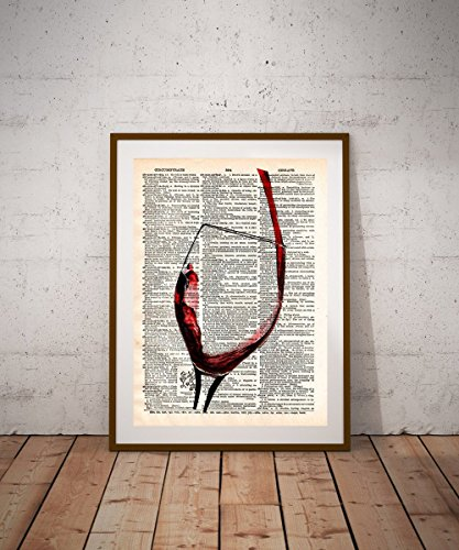 Wine drinker artwork, wine lover gift, Red wine art splash, Vintage dictionary art Anniversary Wine Art
