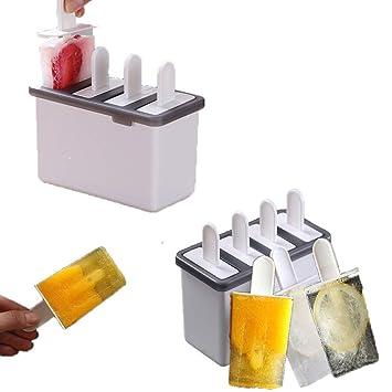 Compra XOXO Juego de 2 Piezas para Molde de Barra de 4 Helados Molde de Molde de Hielo Retro para Molde de Caramelos Reutilizables (Paquete de 2) en Amazon. ...