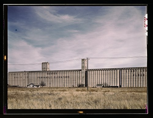 Vintography Reproduced Photo of Grain Elevators Along The Route of The Atchison, Topeka, and Santa Fe Railroad, Amarillo, Texas. Santa Fe Trip 1943 Delano C Jack 07a ()