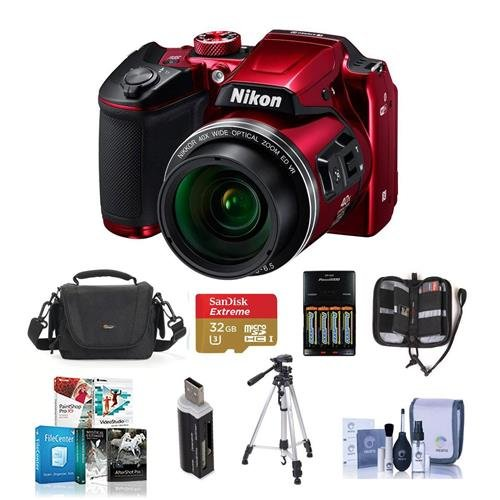 Nikon Coolpix B500 Digital Point & Shoot Camera, Red – Bundle With Camera Bag, 4 AA Rechargeable Batteries With charger, 32GB Class 10 SDHC Card, Cleaning Kit, Tripod, Software Package, And More