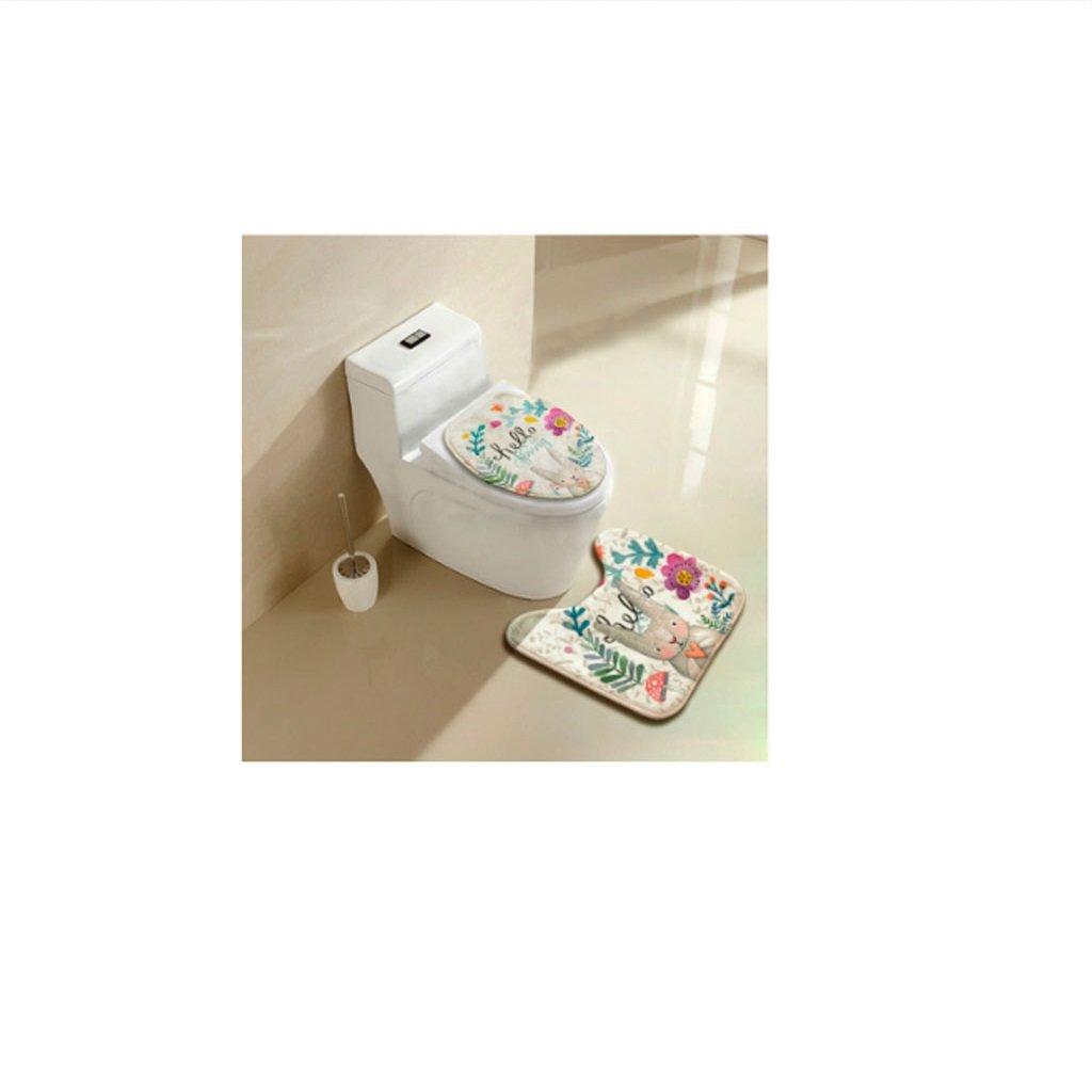 Yumian Bathroom Toilet Seat Cover Rug Set, Cute Rabbit Pattern No Slip U-shaped Contour Rug Toilet Floor Pedestal Mat U-Shaped Bath Pedestal Mat Anti-Slip Pat Home Bathroom Decoration (Spring)