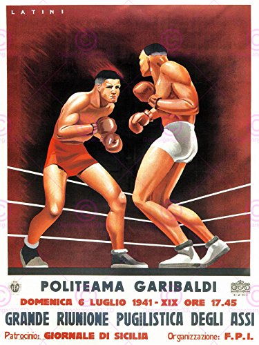 SPORT EXHIBITION BOXING SICILY ITALY VINTAGE REPRO 24x18 INCH (61x46 Cms) POSTER ART PRINT 902PYLV by Doppelganger33LTD