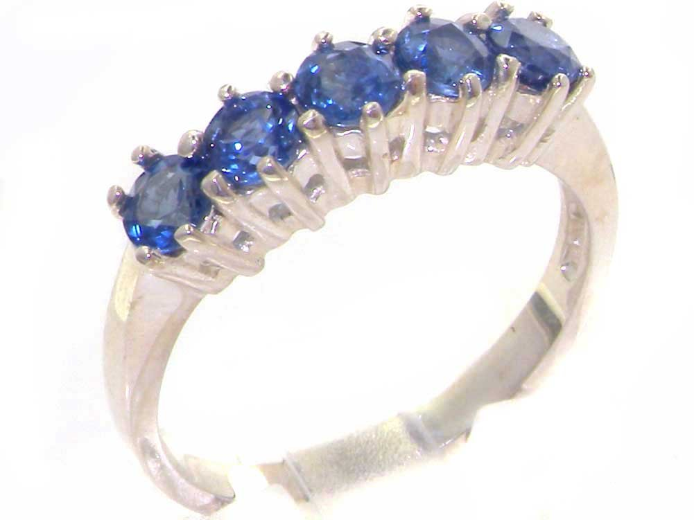 925 Sterling Silver Natural Sapphire Womens Eternity Ring - Sizes 4 to 12 Available