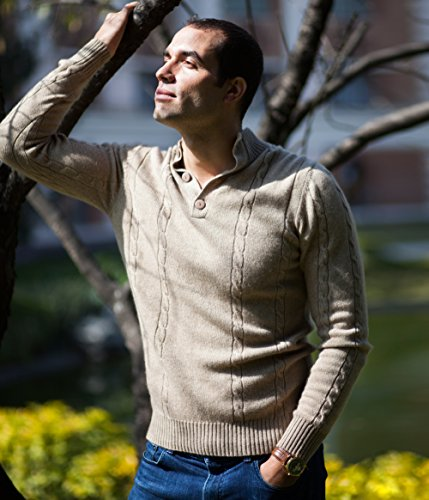 Men's 100% Cashmere Sweater, Cable-Knit Pattern, Hand-Knitted, Buttoned Neck, 26/2 4 PLY Mongolian Yarn, Beige © Moksha Cashmere by Moksha Cashmere