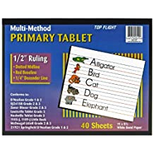 Top Flight 56419 Multi-Method 3rd Grade Primary Tablet, 1/2-Inch Ruling, Bond Paper, 11 x 8.5-Inches, 40 Sheets (White)