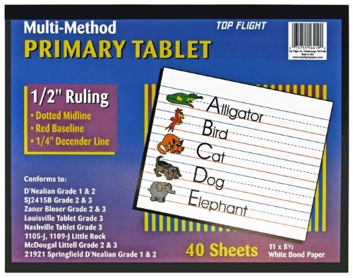 Top Flight Multi-Method 3rd Grade Primary Tablet, 1/2 Inch Ruling, Bond Paper, 11 x 8.5 Inches, 40 Sheets (56419) (School Writing Tablet)