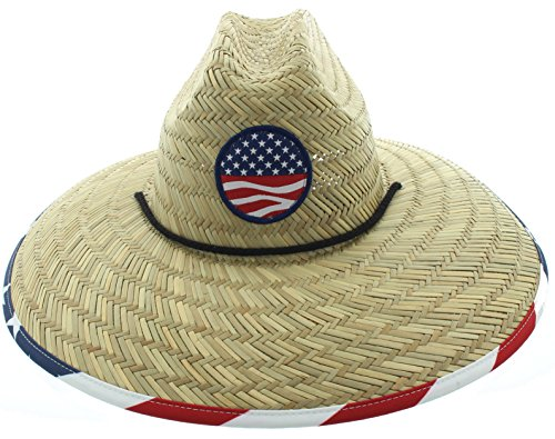 Men's Pierside Sonoma Patriotic Inspired Straw Sun Hat (One Size Fits Most, Flag in (Straw Hat)
