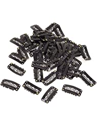 Honbay 50PCS 6-Teeth U-Shape Snap Clips for Hair Extensions - 3.3cm/1.3inch (Black)