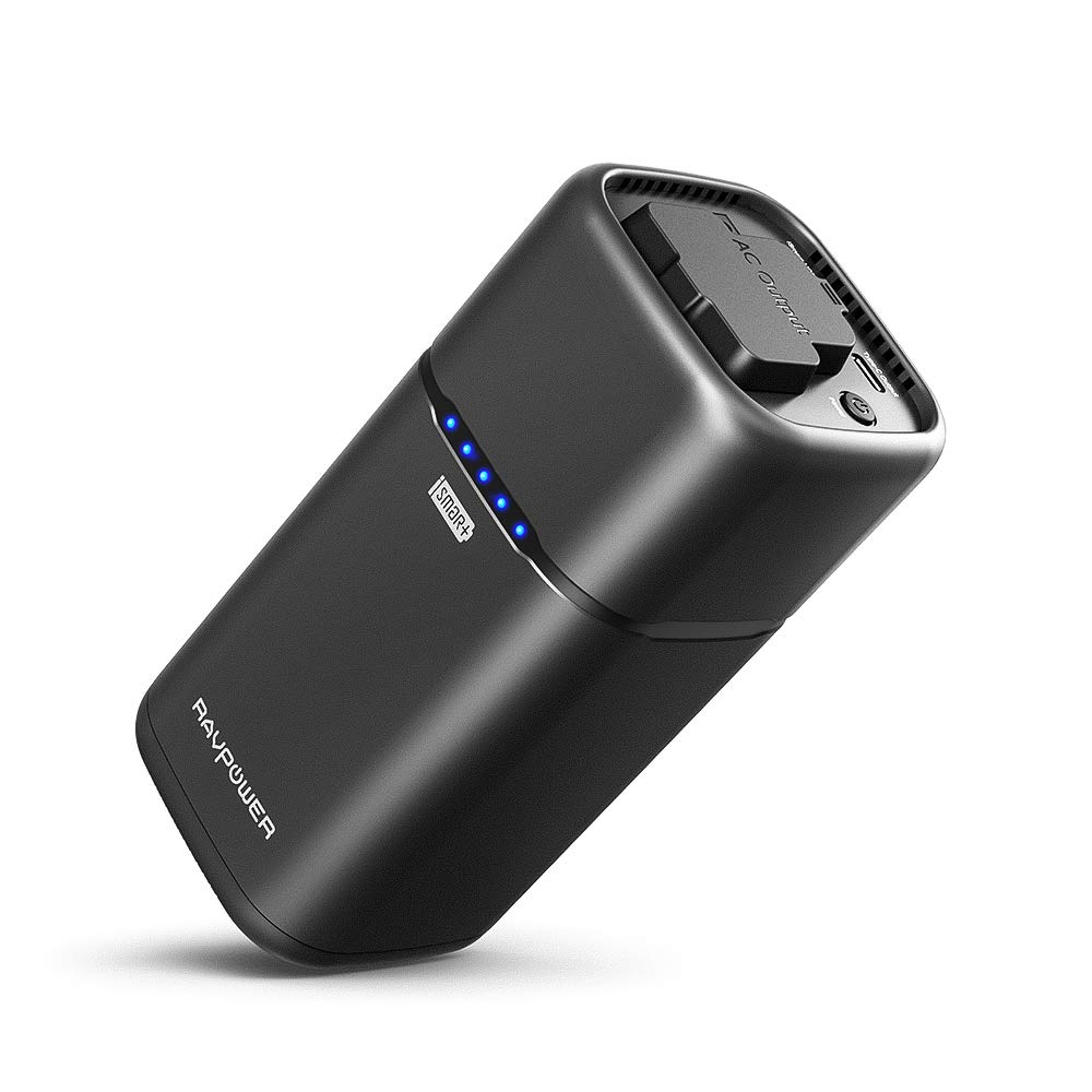 AC Portable Laptop Charger RAVPower 20100mAh AC Outlet Power Bank 65W(Max) External Battery Pack Travel Charger Compatible for MacBook, Surface Pro, Dell XPS 13, iPhone Xs, Galaxy S9, Note 8