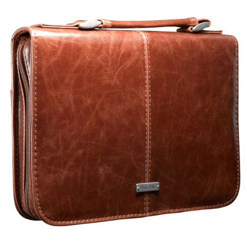 "Classic Bible / Book Cover w/ ""Faith"" Badge (Large / Brown)"
