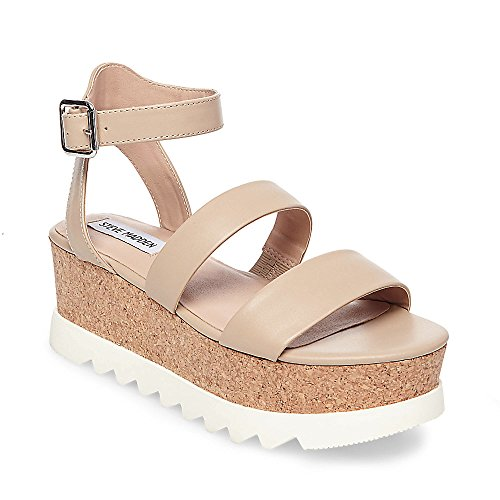 Steve Madden Women's Kirsten Wedge Sandal, Natural Leather, 7.5 M US