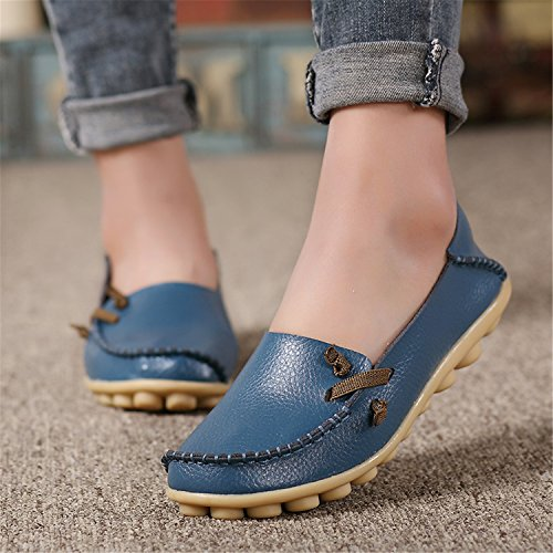 Blue Shoes Beststore Lace Peas VAO Flat Casual Colors up 16 Slip Non Size Women Shoes Shoes Genuine 44 Leather Outdoor 34 0RRxwOr8