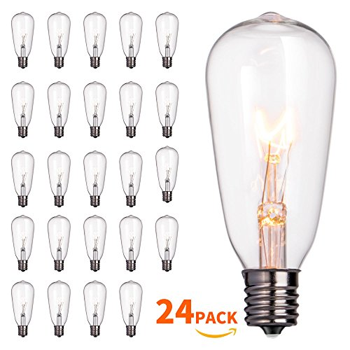 24-Pack Edison Replacement Light Bulbs,7-watt E17 Candelabra Screw BaseST40 Replacement Clear Glass Light Bulbs for Outdoor Patio ST40 String Lights, Warm White by Brightown