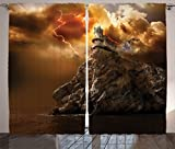 Cheap Ambesonne Lake House Decor Curtains, Fantasy Castle on Top of the Cliff with Lightning Supernatural Place Fiction Print, Living Room Bedroom Decor, 2 Panel Set, 108 W X 90 L Inches, Orange Brown