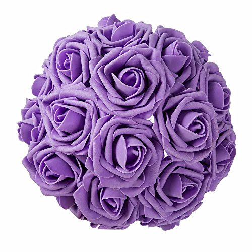 (ZOOYOO Artificial Flowers Lavender Roses 50pcs,Wedding Bridesmaid Bridal Bouquets Centerpieces,Wedding Decorations,Real Looking Fake Roses Stem For Party Decoration,Baby Shower Home)