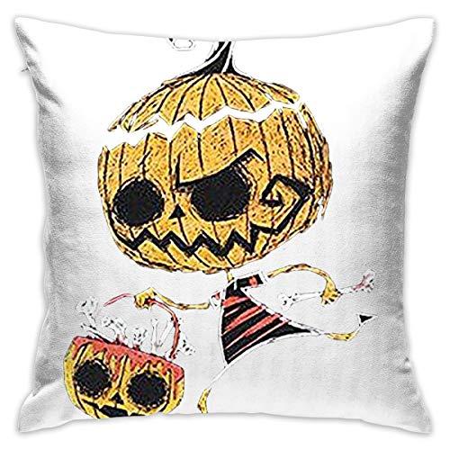 Pillome Bone Collector Halloween HorrorDecorative Cotton Linen Throw Pillow Covers Pillow Case Cushion Shell -
