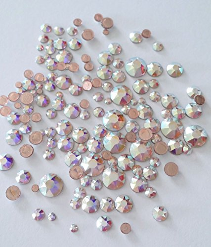 Mix Swarovski Hot Fix Crystals - HOTFIX Swarovski CRYSTAL AB (001 AB) 144 pieces 2058/2078 Crystal Flatbacks rhinestones mixed with Sizes ss6, ss10, ss12, ss16, ss20, ss30