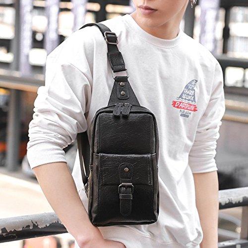 hongrun poitrine de la version coréenne de la marée en cuir pour hommes forfait grand sac à bandoulière unique paquet diagonal et de loisirs d'affaires sac sac à dos sport package