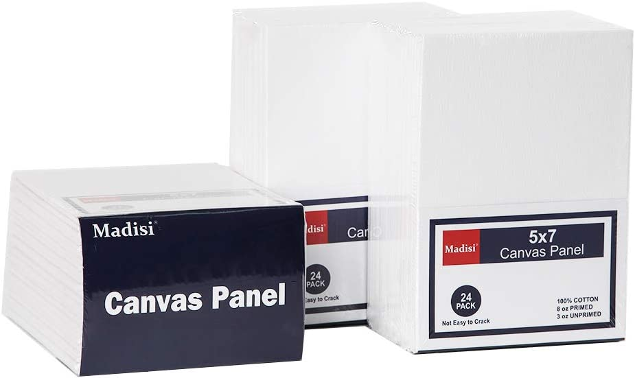 Madisi Painting Canvas Panels 72 Pack, 5X7, Classroom Value Pack Art Canvas