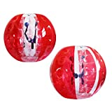 AECOJOY 2pcs 5FT Inflatable Bumper Ball 1.5m Human Knocker Bubble Soccer Balls (Red and Clear)