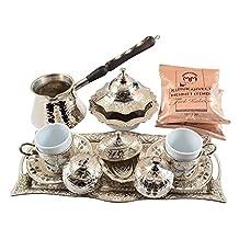 "BOSPHORUS ""Silver"" 16 Pieces Turkish Greek Arabic Coffee Set with Cups Saucers Copper Pot Sugar Bowl & Coffee"