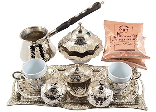 """Silvery"" 16 Pieces Turkish Greek Arabic Coffee Set with Cups Saucers Copper Pot Sugar Bowl and Coffee"