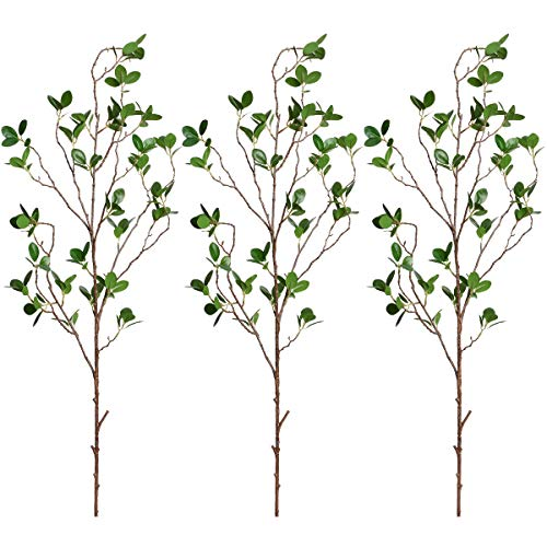 Sunm boutique Artificial Ficus Branches Leaf Spray, Faux Silky Ficus Tree Twig, Banyan Branches Real Touch Leaves Ficus Microcarpa for Home, Wedding, Office, Banquet Decor, 31'', 3pcs