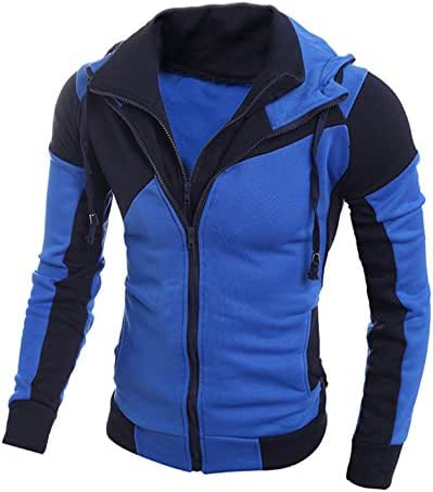 Sweatshirts Hoodies for Men with Zipper Hood and Pockets Retro Long Sleeve Hooded Tops Jacket Coat Outwear