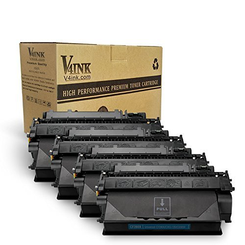 V4INK 4 Pack Compatible Replacement for HP 80X CF280X Toner Cartridge - for use in HP LaserJet Pro 400 M401dne, HP Pro 400 M401n, HP Pro 400 M401dw, HP Pro 400 MFP M425dn series printers