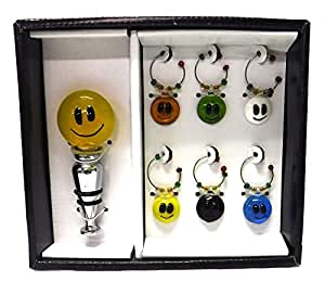 Smiley Face Wine Bottle Stopper and Charms - 7 Piece Set