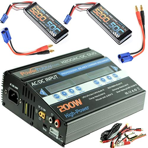 Hobbypower Powerhobby H200 AC / DC 200W Dual 10A LiPo Duo RC Battery Balance Charger + 3S 11.1v 5200mah 50C-100C Lipo Battery Combo (EC5)