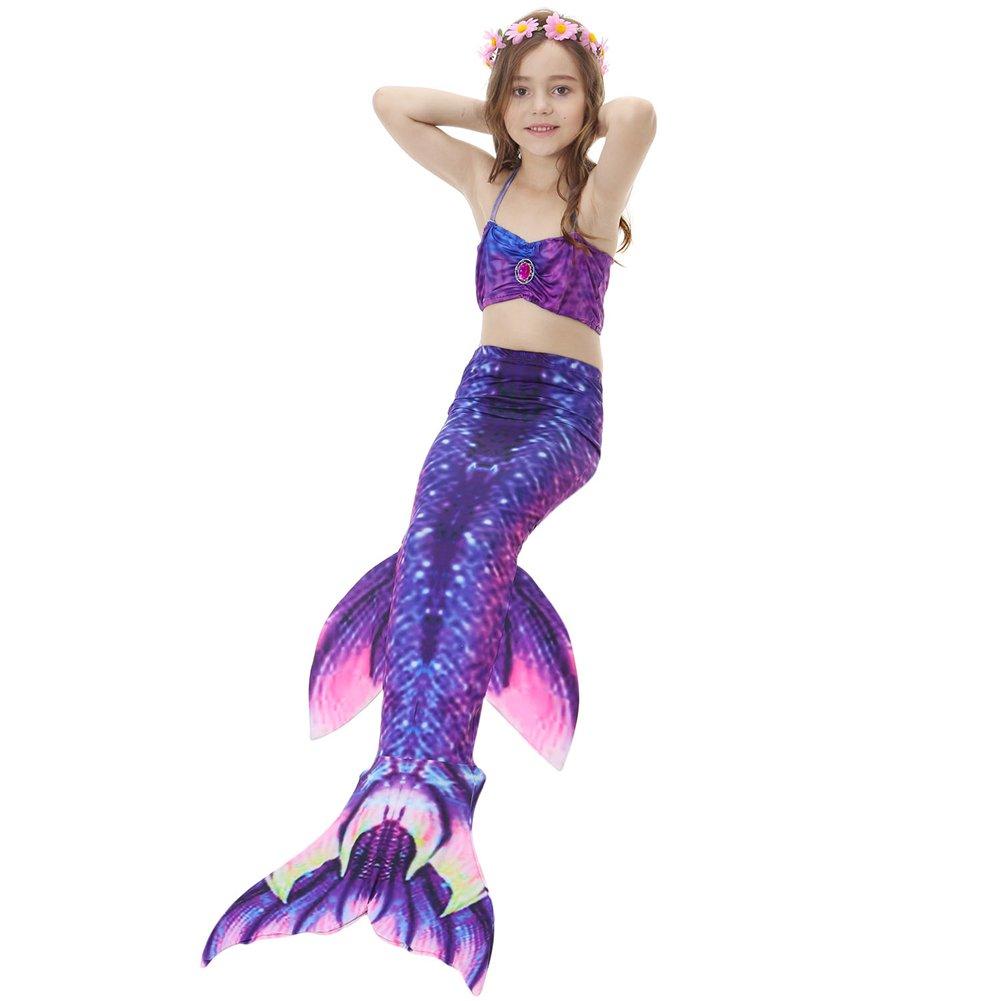 120 3PCS Girl Mermaid Tail Swimsuit Bikini Set Princess Swimming Bathing Suits