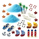 ornerx Miniature Garden Ornament Kit Summer Beach 34 Pcs